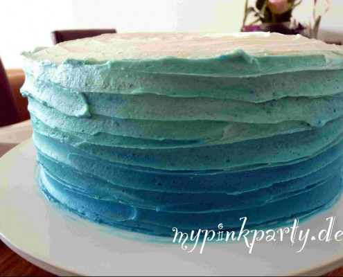 Blaue Ombre Torte