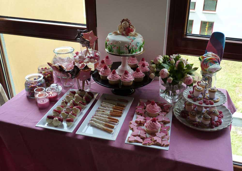 Sweet table tisch deko candybar feen party for Dekoration zum 18 geburtstag