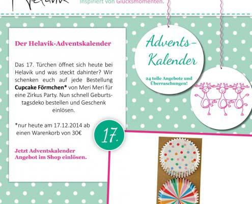Cupcake Förmchen im Adventskalender