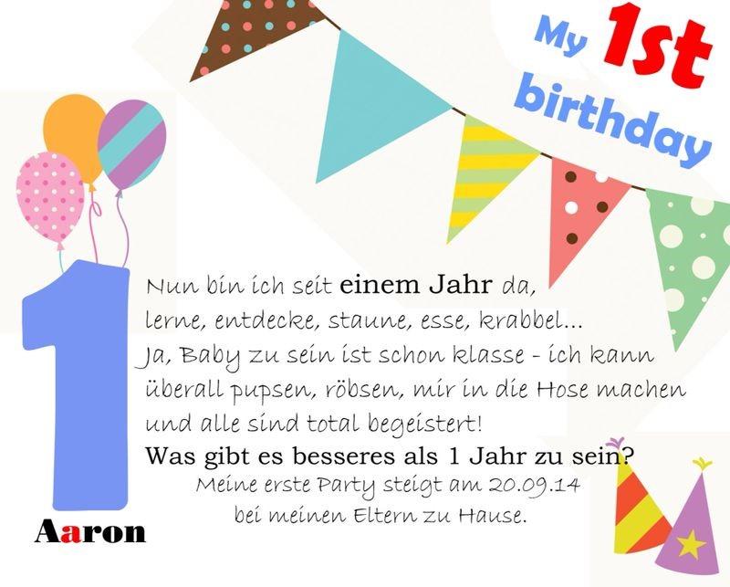 Einladungskarte zum 1. Geburtstag