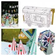 Centerpieces mit Ausmal & Bastelset zu dem Thema Zirkus & Jahrmarkt
