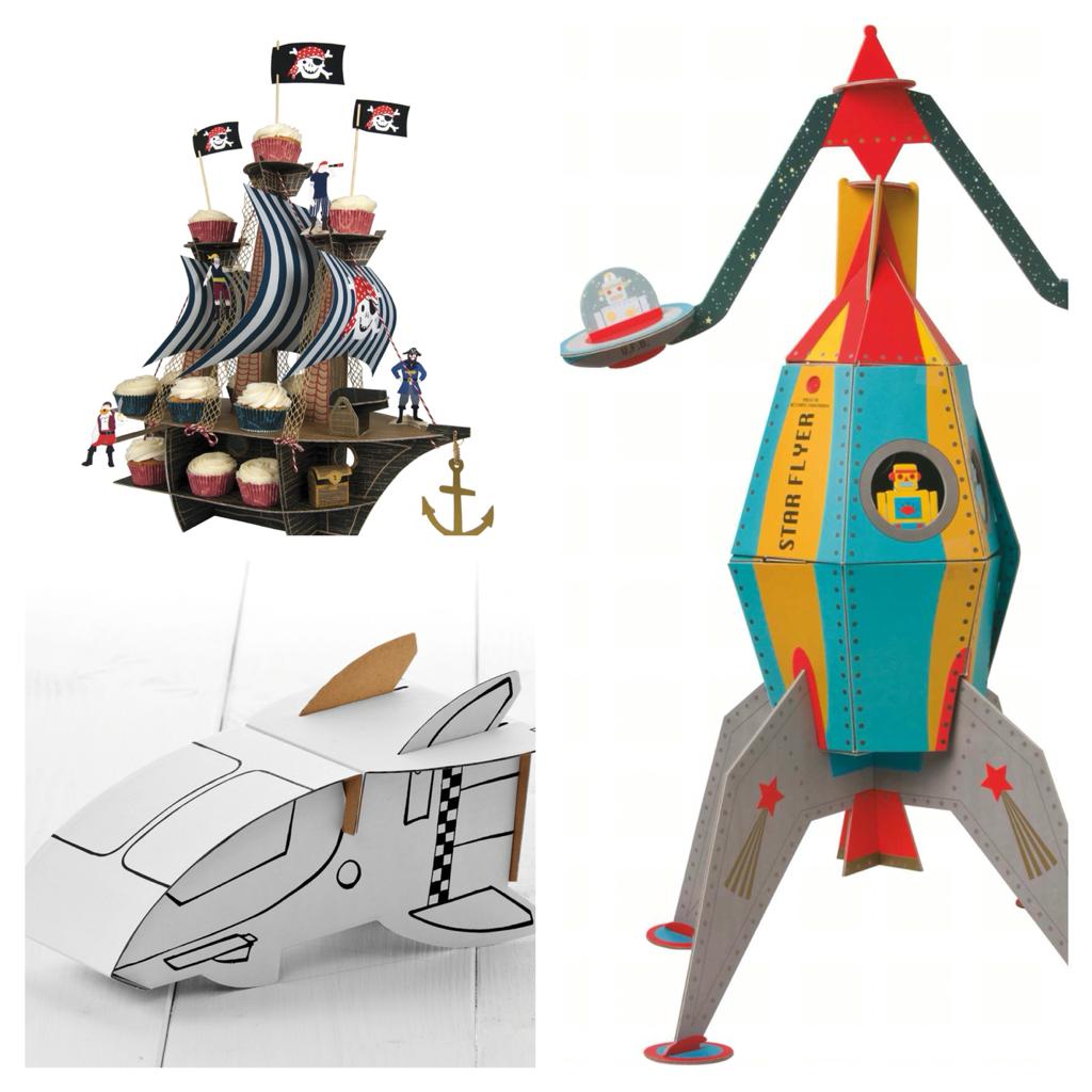 Centerpieces Raumschiff und Piratenschiff
