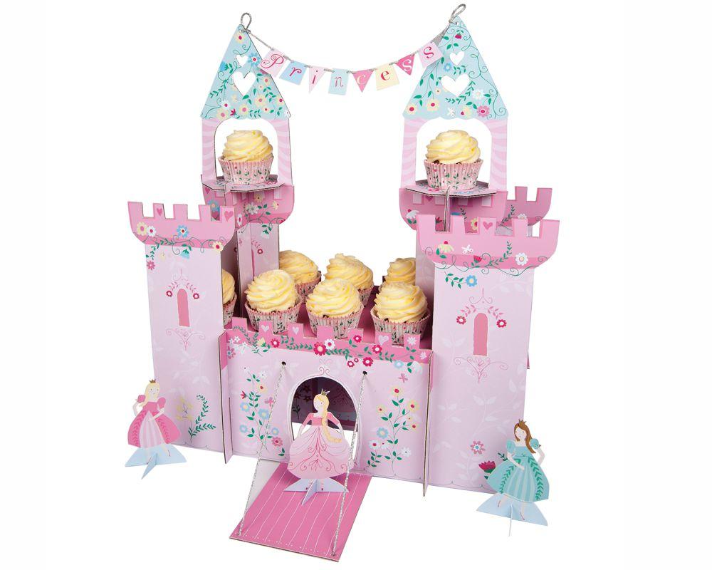 Schloss Centerpieces mit Prinzessinnen für köstliche Cupcakes