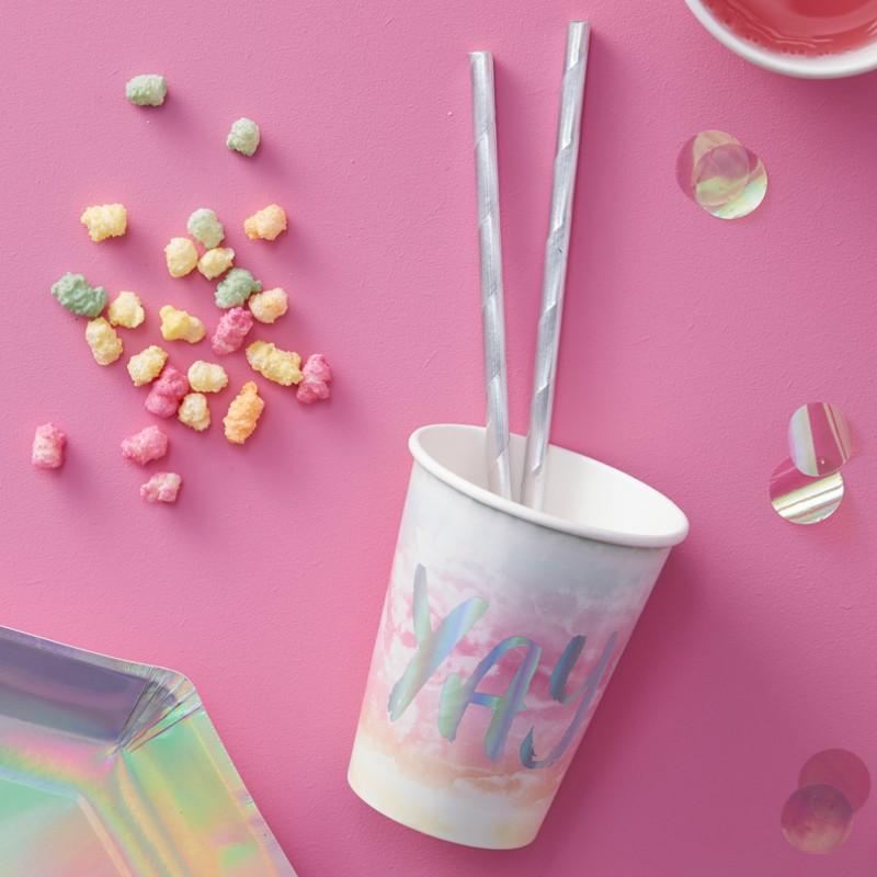 Becher in Regenbogen Pastell in holografischen Design